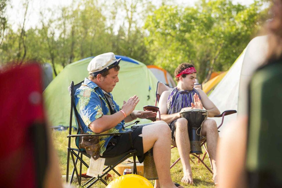 Brandon Cassels (left) and Steben Szecsodi play drums and sing the night before folk fest at Birds Hill Park on Wednesday, July 8, 2015. (Mikaela MacKenzie / Winnipeg Free Press)