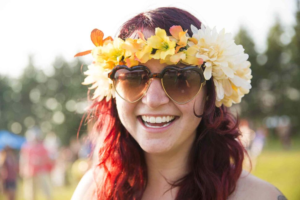 Tanith Nelson is dressed for folk fest at Birds Hill Park on Wednesday, July 8, 2015. (Winnipeg Free Press)