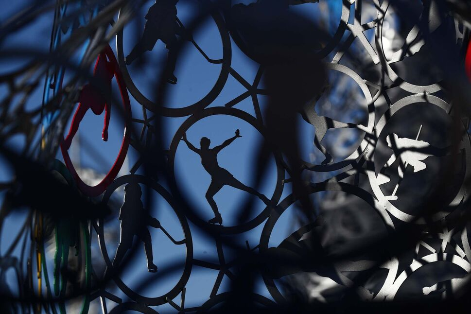 JAE C. HONG /THE ASSOCIATED PRESS</p><p>A sculpture made with rings depicting ice sports is placed at the Olympic Park prior to the 2018 Winter Olympics in Gangneung, South Korea, Monday, Feb. 5, 2018.</p>
