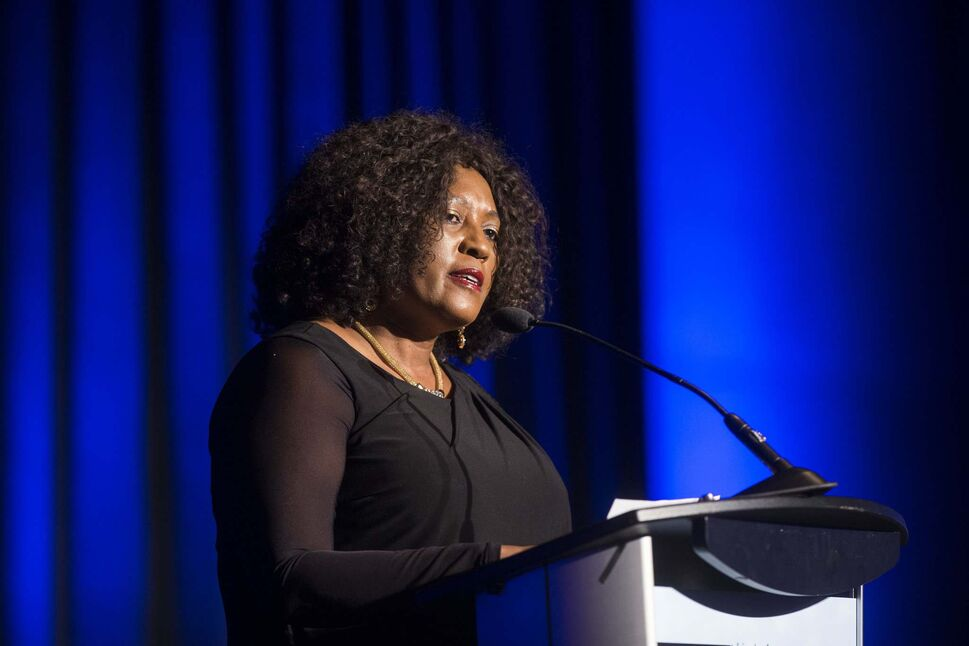 MIKAELA MACKENZIE / WINNIPEG FREE PRESS</p><p>Sibongiseni Dlamini-Mntambo, South African High Commissioner, speaks at a gala celebrating the opening of the Mandela exhibition at the Canadian Museum for Human Rights in Winnipeg on Monday.</p>