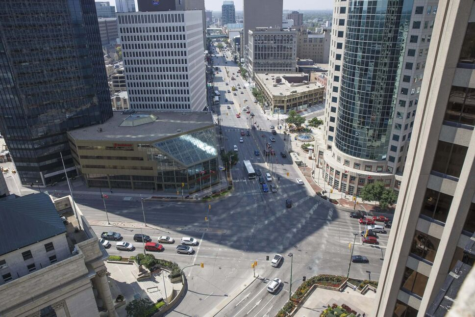 The intersection of Portage Avenue and Main Street as seen from the roof of the Fairmont Hotel. (Mike Deal / Winnipeg Free Press files)