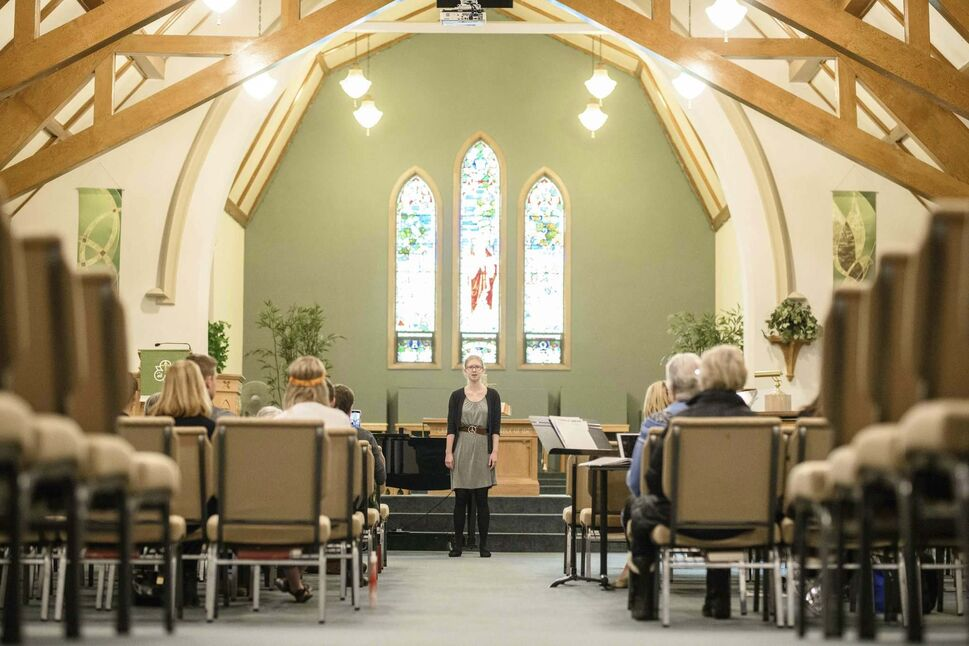 <p>Helena Czaykowski performs Stephen Sondheim's I Remember from the musical Evening Primrose as part of the musical-theatre category on Thursday afternoon at Churchill Park United Church.</p> (Mike Sudoma / Winnipeg Free Press files</p>)