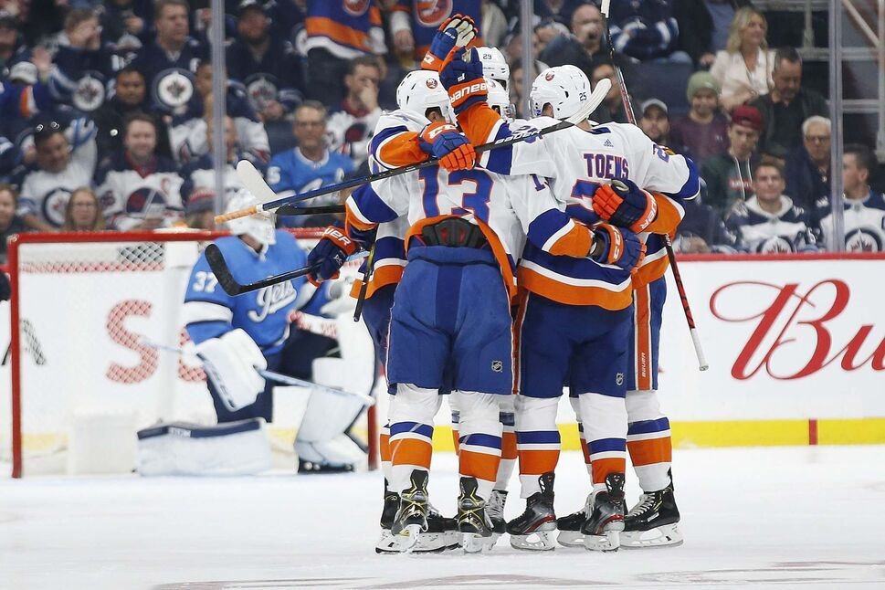 New York Islanders' Mathew Barzal celebrates a goal in their 3-1 win over the Jets, Thursday.