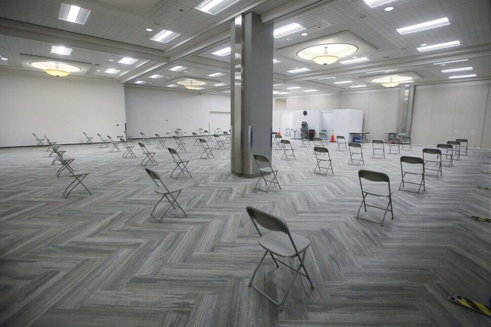 The province's COVID-19 vaccination centre at the Convention Centre. (John Woods / The Canadian Press)