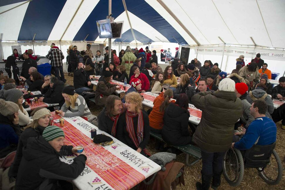 Winnipeggers packed in to see live music and embrace francophone culture on the second-last day of Festival du Voyageur Saturday. (David Lipnowski / Winnipeg Free Press)