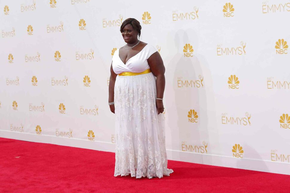 Retta (Parks and Recreation) arrives for the 66th Annual Primetime Emmy Awards at Nokia Theatre at L.A. Live in Los Angeles Monday. (Tribune Media MCT)