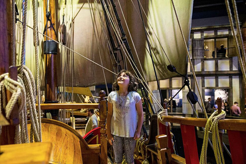 MIKAELA MACKENZIE / WINNIPEG FREE PRESS</p><p>Nine-year-old Janique Curé explores the Nonsuch gallery on opening day at the Manitoba Museum Wednesday, June 6, 2018.</p>