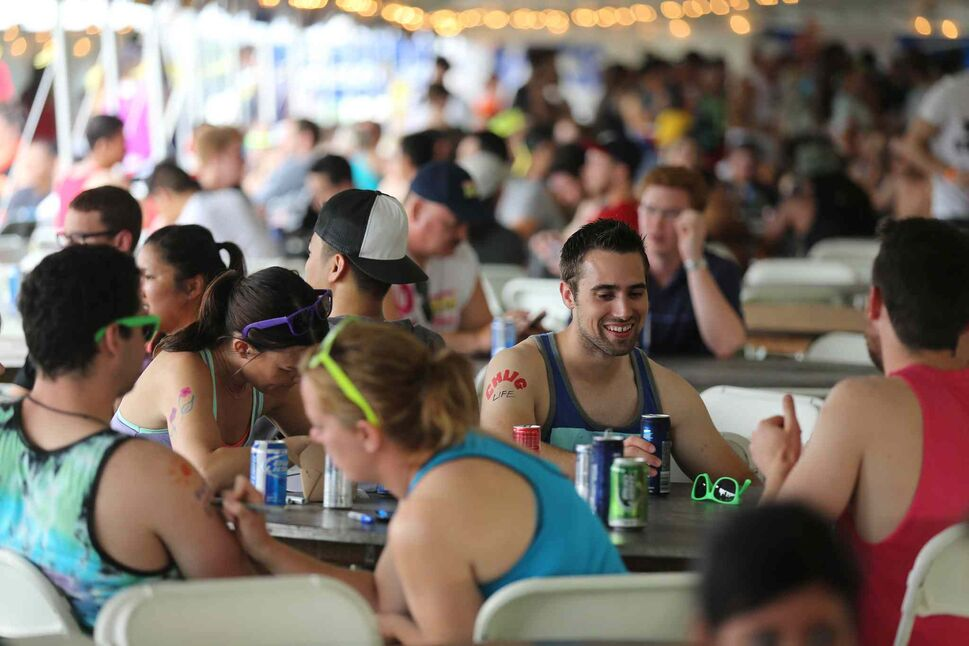 Beer tent at the Super-Spike volleyball tournament at Maple Grove Rugby Park, Friday, July 18, 2014.  (TREVOR HAGAN/WINNIPEG FREE PRESS)