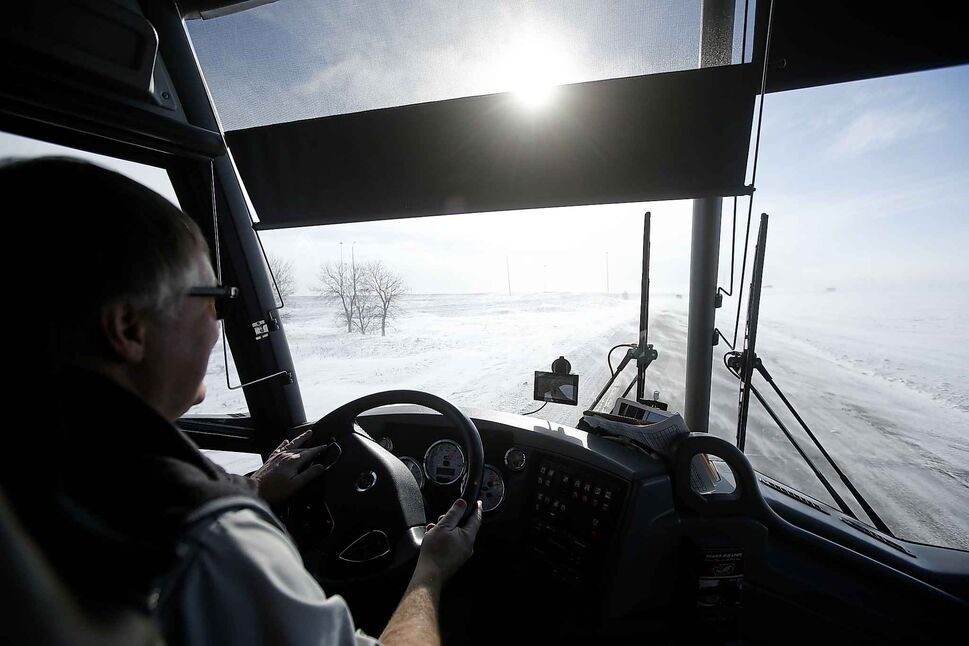 Hamelin drives his bus in challenging conditions to Steinbach to pick up the Pistons.</p>