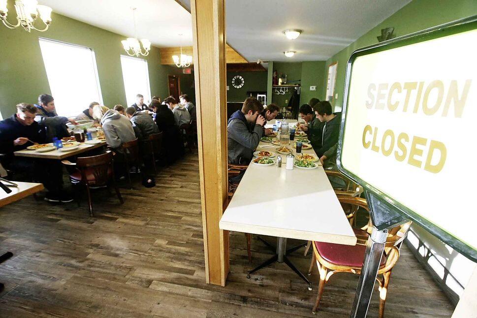 A Neepawa restaurant closes a section for the Pistons to eat their pre-game meal.</p>