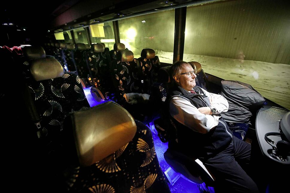 Hamelin takes a break on his bus as the Pistons play against the Wolverines.</p>