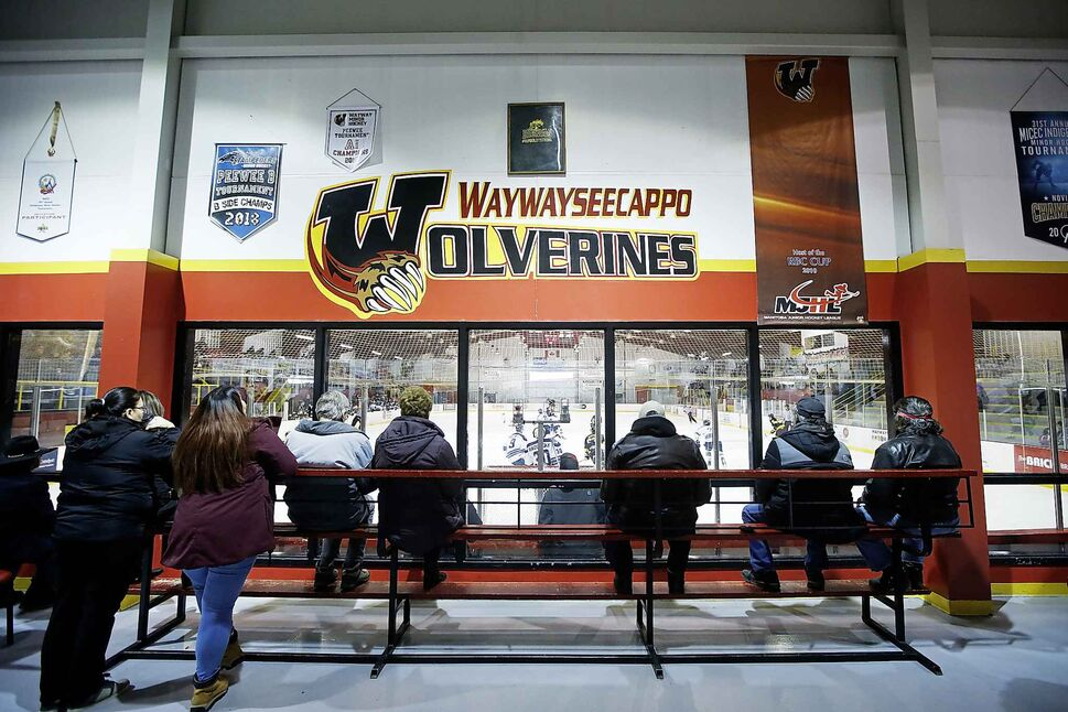Spectators watch as the Pistons and Wolverines hit the ice for second-period action.</p>
