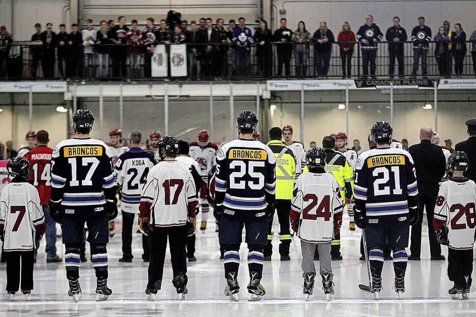 "PHIL HOSSACK / WINNIPEG FREE PRESS</p><p>April 12 — Steinbach Pistons and the Virden Oil Capitals wear ""Broncos"" as a tribute to the Humbolt Broncos at the Virden Tundra Oil Gas Place Thursday evening.</p>"