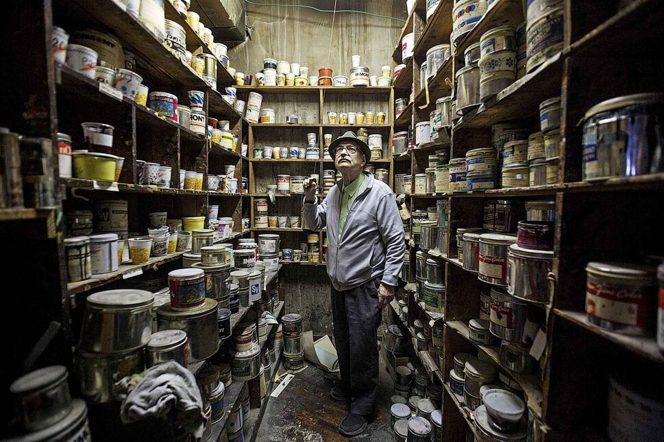 "MIKE DEAL / WINNIPEG FREE PRESS</p><p>Ron ""Shep"" Shepertycki, the general manager in the old ink storage room at Western Paper Box located at 579 McDermot Avenue. Western Box Company has been around almost 100 years and make boxes for everything from paint swatches to dental supplies to board games.</p>"