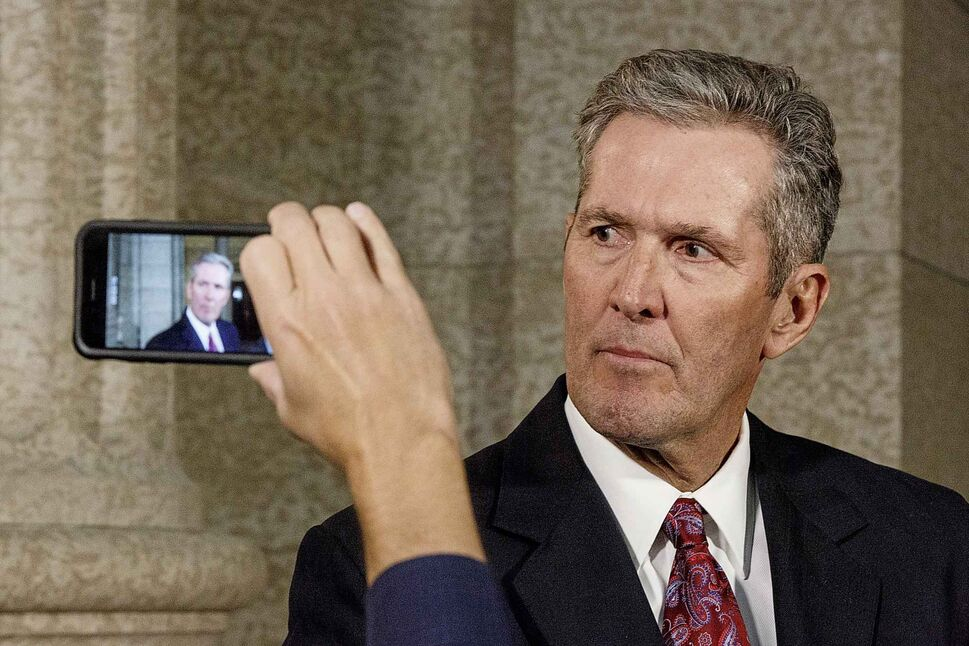 MIKE DEAL / WINNIPEG FREE PRESS</p><p>October 22 — Premier Brian Pallister answers questions regarding the PC caucus expelling Emerson MLA Cliff Graydon for inappropriate remarks he made recently to female staff in the rotunda of the Manitoba Legislative building after question period Monday afternoon.</p>