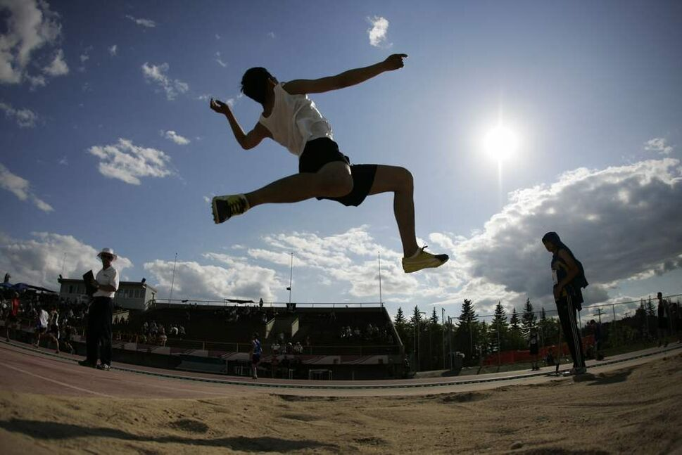 Daniel Guzman of Sisler High School competes in the varsity boys long jump at the MILK Provincial Track and Field Championships at the University of Manitoba. June 10, 2011 (JOHN WOODS)