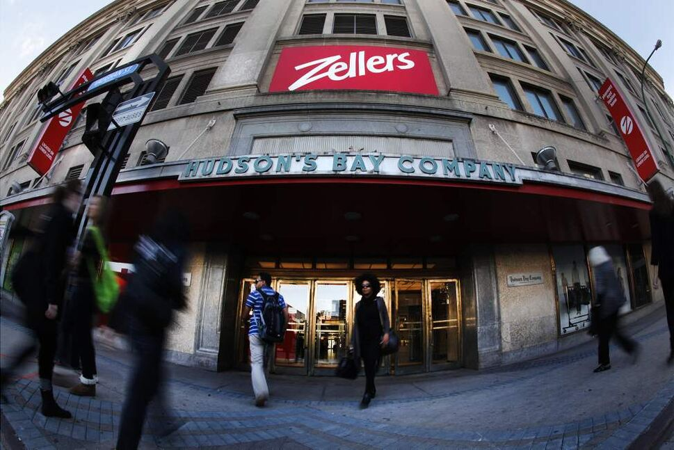 People come and go from The Bay downtown. Zellers in the Bay downtown has been passed over as a Target location. September 23, 2011 (John Woods/Winnipeg Free Press)