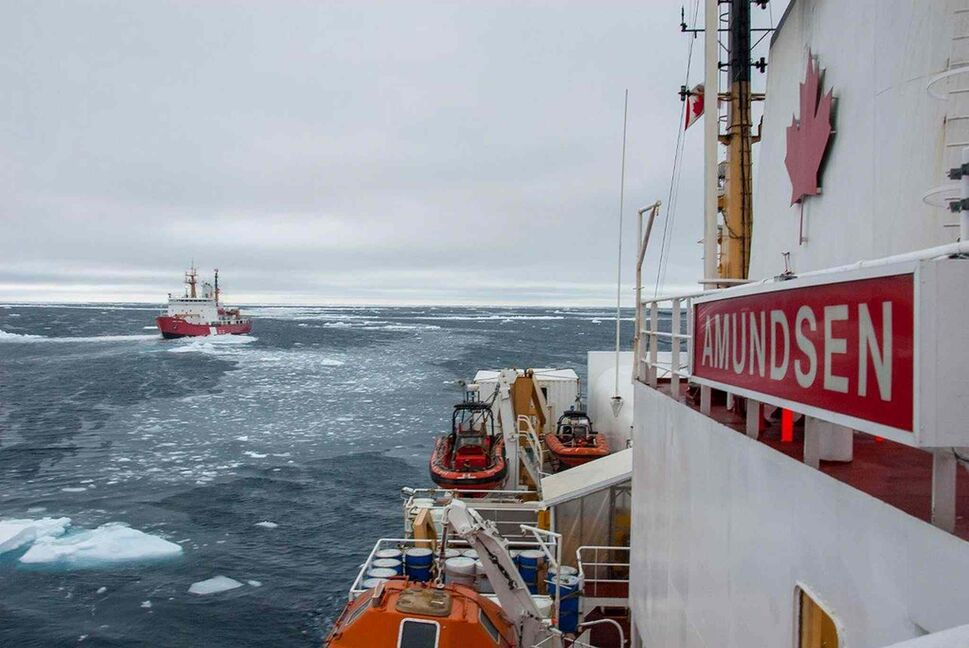 The Canadian Coast Guard Ship Amundsen providing search and recovery assistance in the M'Clure Strait, Northwest Territories.  (Keith Levesque / Transportation Safety Board of Canada )