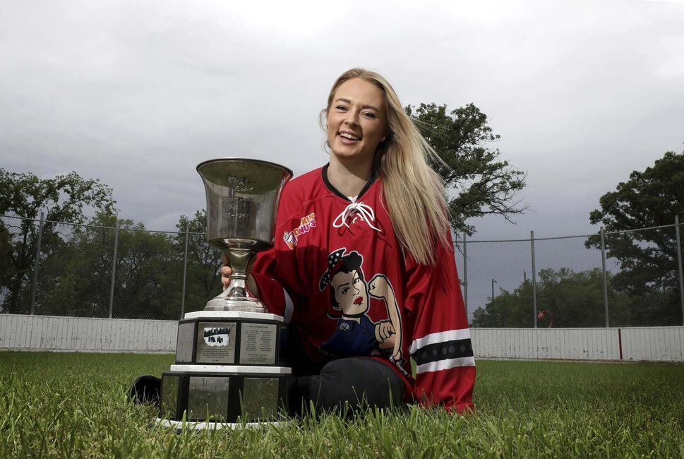 Tatiana Rafter with the Isobel Cup back after her Metropolitan Riveters won the 2018 National Women's Hockey League championship.