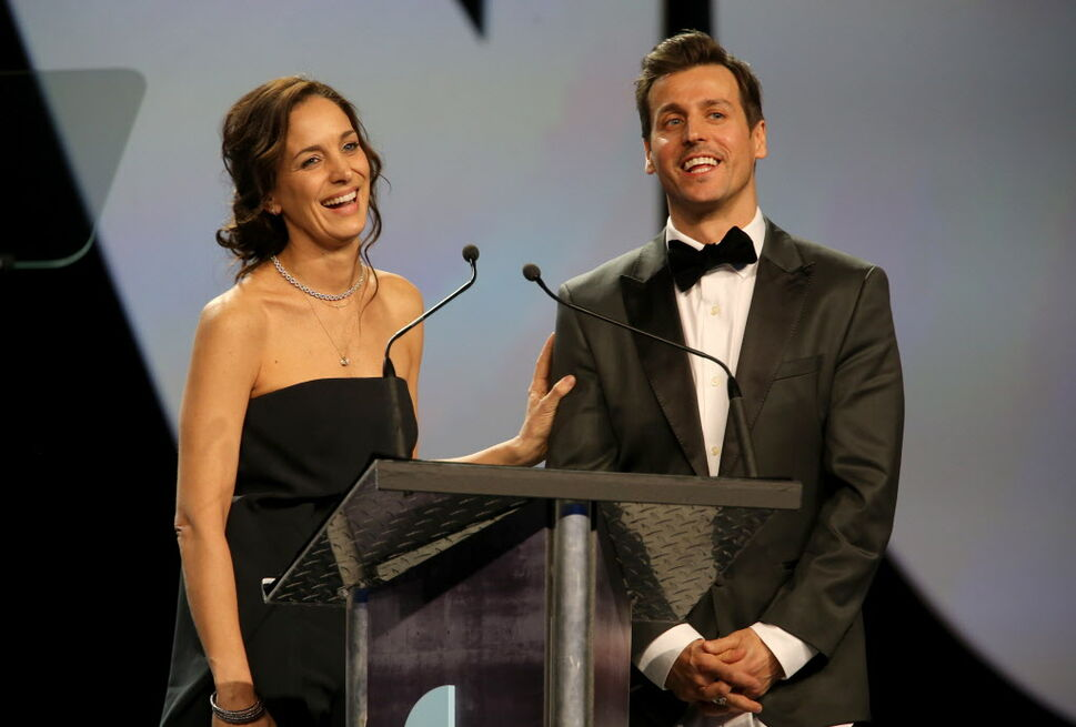 Chantal Kreviazuk and Raine Maida were honoured with the Allan Waters Humanitarian Award at the 2014 Juno Gala at the Winnipeg Convention Centre, Saturday, March 29, 2014. (TREVOR HAGAN/WINNIPEG FREE PRESS)