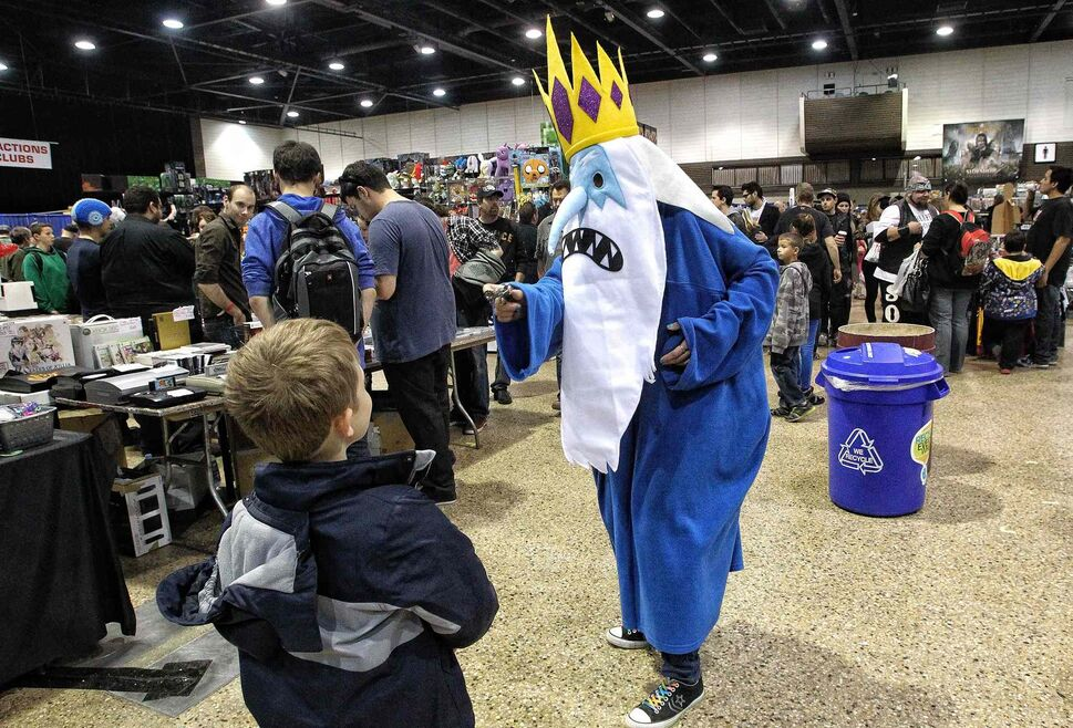 Jamie Derhak sports an Ice King costume. The character is from the animated television show Adventure Time, and was popular among the younger C4 attendees. (Mike Deal / Winnipeg Free Press)