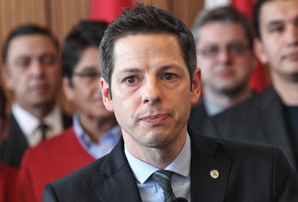 Mayor Brian Bowman gets emotional as he addresses the media regarding racism in Winnipeg, after a Maclean's article suggested Winnipeg is the most racist city in Canada last year. (Mike Deal / Winnipeg Free Press)
