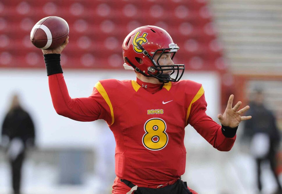 Calgary Dinos quarterback Andrew Buckley gets ready to throw down-field during the first half. (Larry MacDougal / The Canadian Press)