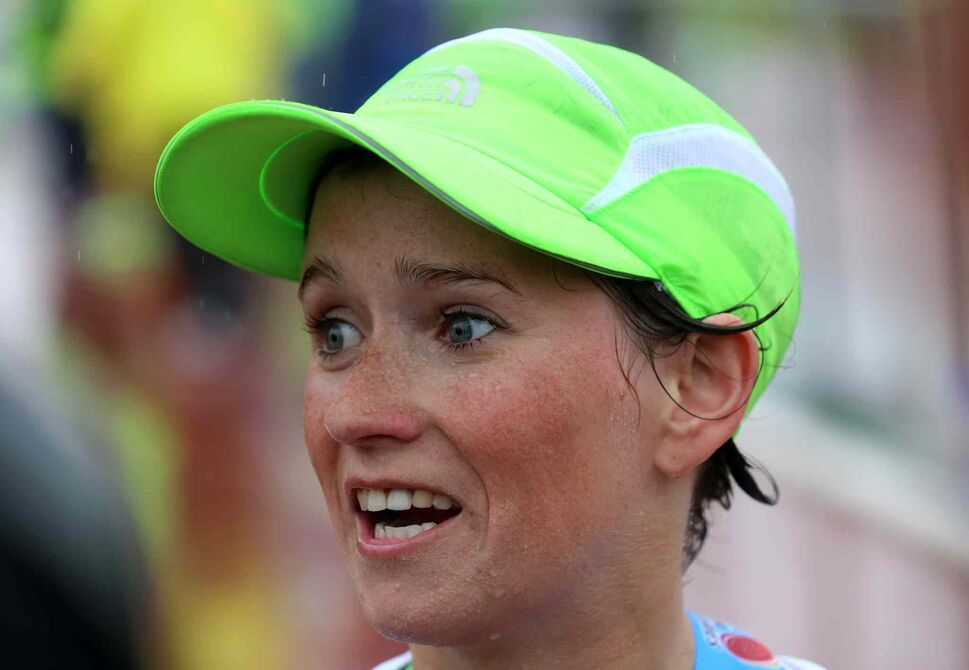 Alice Sherwin wins the women's full Manitoba Marathon. (Trevor hagan / Winnipeg Free Press)