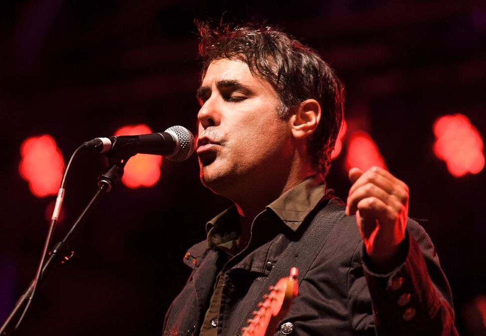 Nick Urata, singer and multi-instrumentalist with DeVotchKa, performs during the headlining act on Saturday night 2012 Winnipeg Folk Festival. Melissa Tait / Winnipeg Free Press