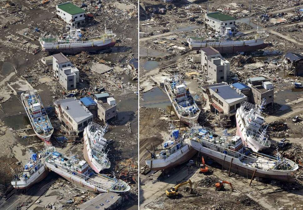 In this combo of two panoramic photos, ships swept away by tsunami are piled up each other on the ground March 24, 2011, left, while the ships stay in the same position in the area almost unchanged June 3, 2011 in Kesennuma, Miyagi Prefecture, northeastern Japan. Japan marks three month since the March 11 earthquake and tsunami Saturday, June 11, 2011. (AP Photo/Kyodo News)