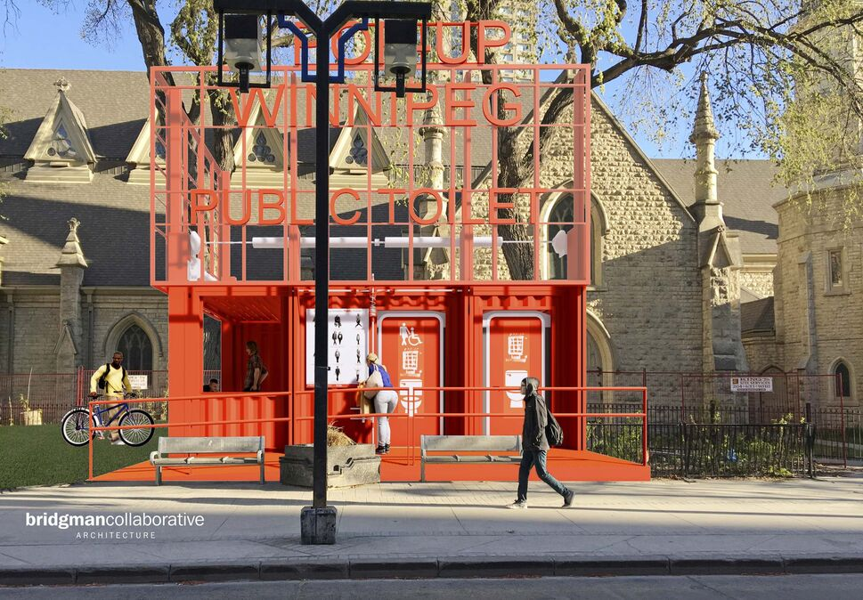 The brightly coloured public pop-up biffy features two washrooms, including one for handicapped patrons, and a kiosk. (Bridgemancollaborative Architecture)
