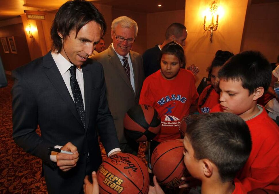 NBA superstar Steve Nash visits with WASAC athletes, Premier Greg Selinger, and NDP candidate Kevin Chief at Hotel Fort Garry. Nash also received the Order of the Buffalo Hunt, Manitoba's highest honourary recognition.  September 12, 2011 (Winnipeg Free Press)