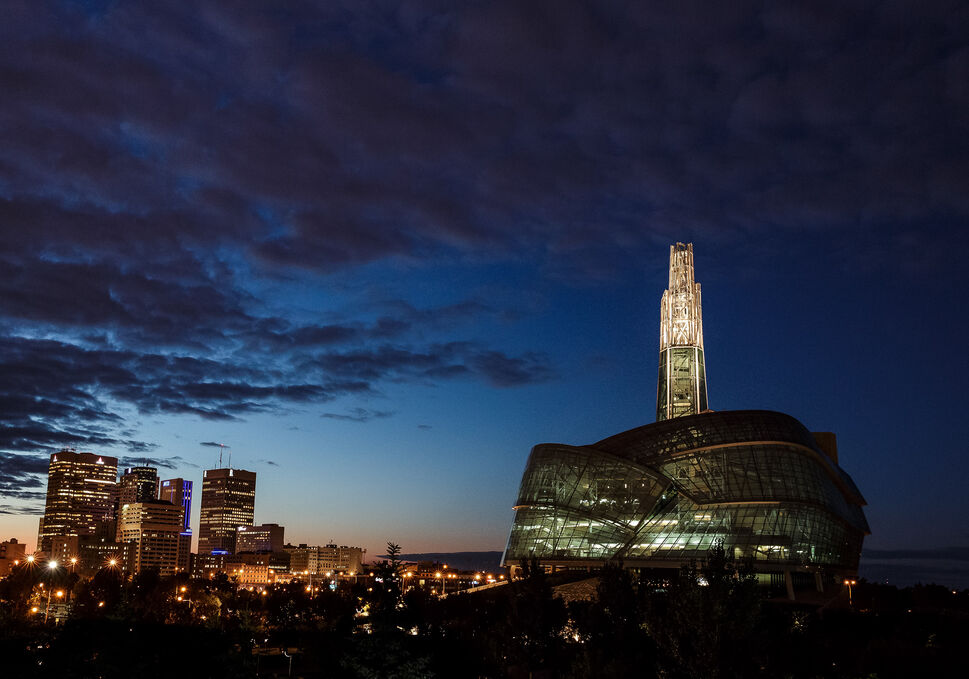 The Canadian Museum for Human Rights and downtown Winnipeg at dusk photographed for the City Beautiful project. Sunday, September 14, 2014  (Melissa Tait / Winnipeg Free Press)