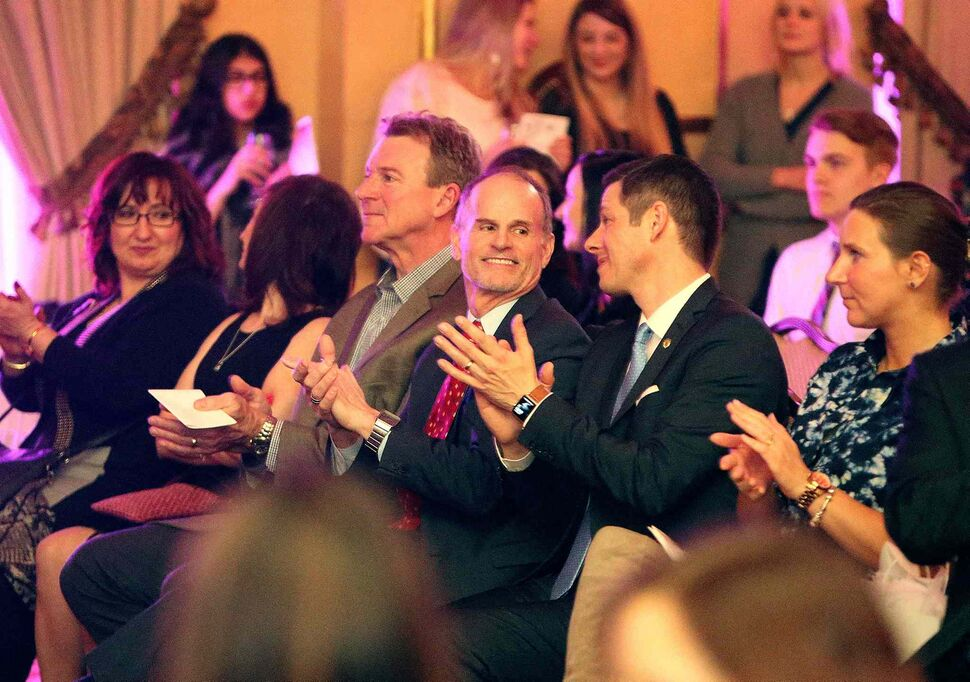 JASON HALSTEAD / WINNIPEG FREE PRESS</P><p>From left, Cam Baldwin, chair of the board of directors for Main Street Project, Rick Lees, director of development for Main Street Project, and Mayor Brian Bowman take in the Runway to Change fashion show fundraiser presented by Qualico in support of Main Street Project on Feb. 2, 2017, at the Fort Garry Hotel.
