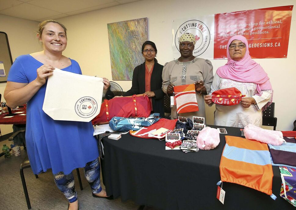 Cutting Edge operations manager Anne-Lydie Bolay (from left), employee Samina Parveen, former participant Mafata Keita and volunteer Habib Khanam show off a little bit of what&rsquo;s available.</p></p>