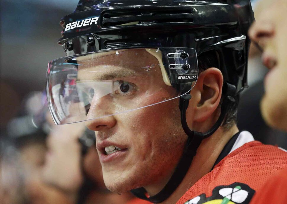 Chicago Blackhawks' Jonathan Toews watches teammates during the second period. (Nam Y. Huh / The Associated Press)