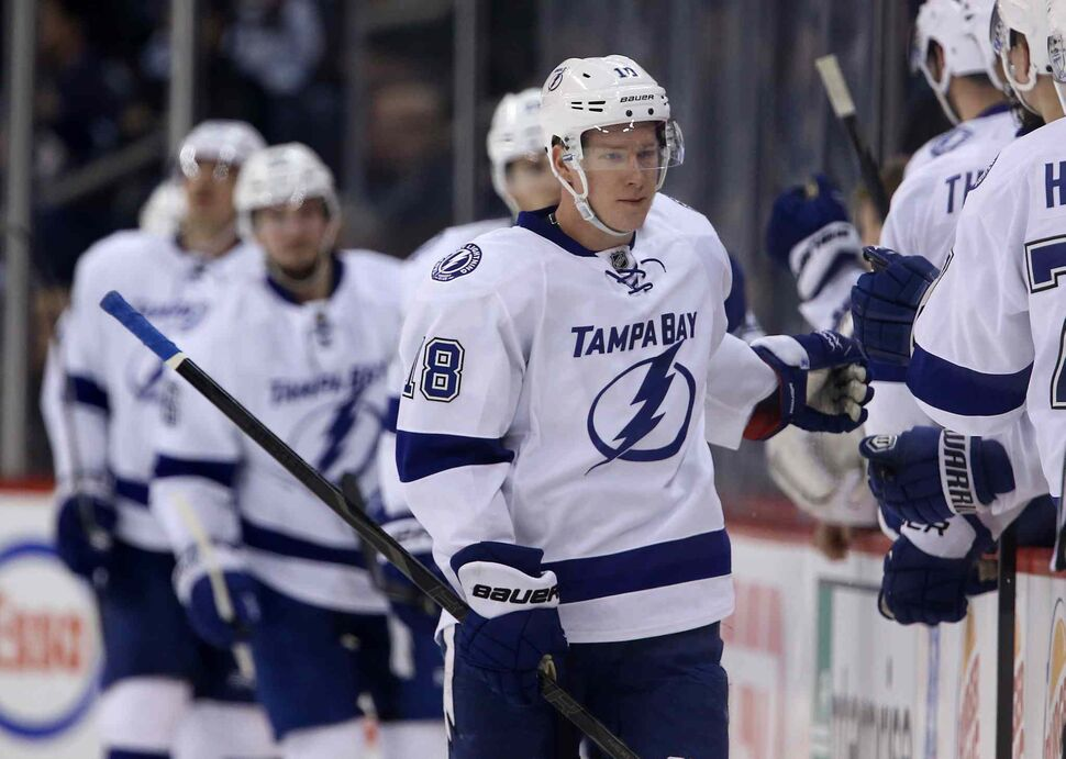 Tampa Bay Lightning's Ondrej Palat (18) celebrates his second period goal against the Winnipeg Jets. (Trevor Hagan / The Canadian Press)