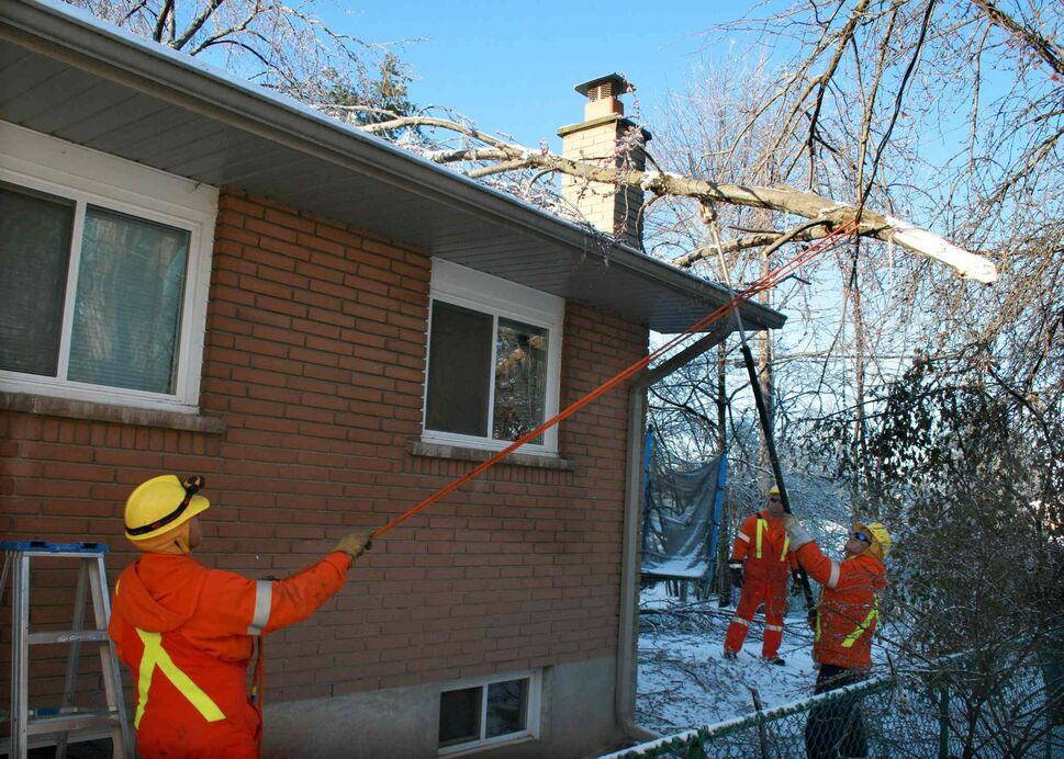 A hydro crew from London, Ont. works to remove fallen branches from a power line at a house in Oakville, Ont., Tuesday. (The Canadian Press)