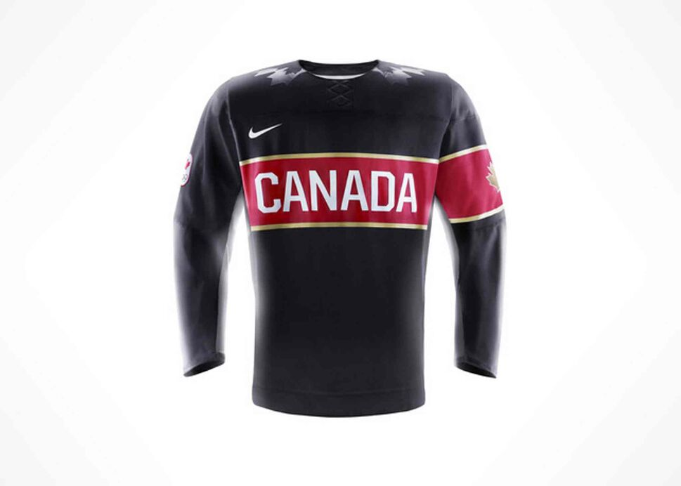 """Inspired by memorable vintage Team Canada jerseys, this jersey will inspire our Olympians to win again. The bold 'Canada' word mark on the chest reminds the world of Canada's hockey heritage, while the gold piping on the badges and gold maple leaf on the shoulders remind the world of Canada's goal to win gold medals in Sochi."" -Hockey Canada (Nike Inc.)"
