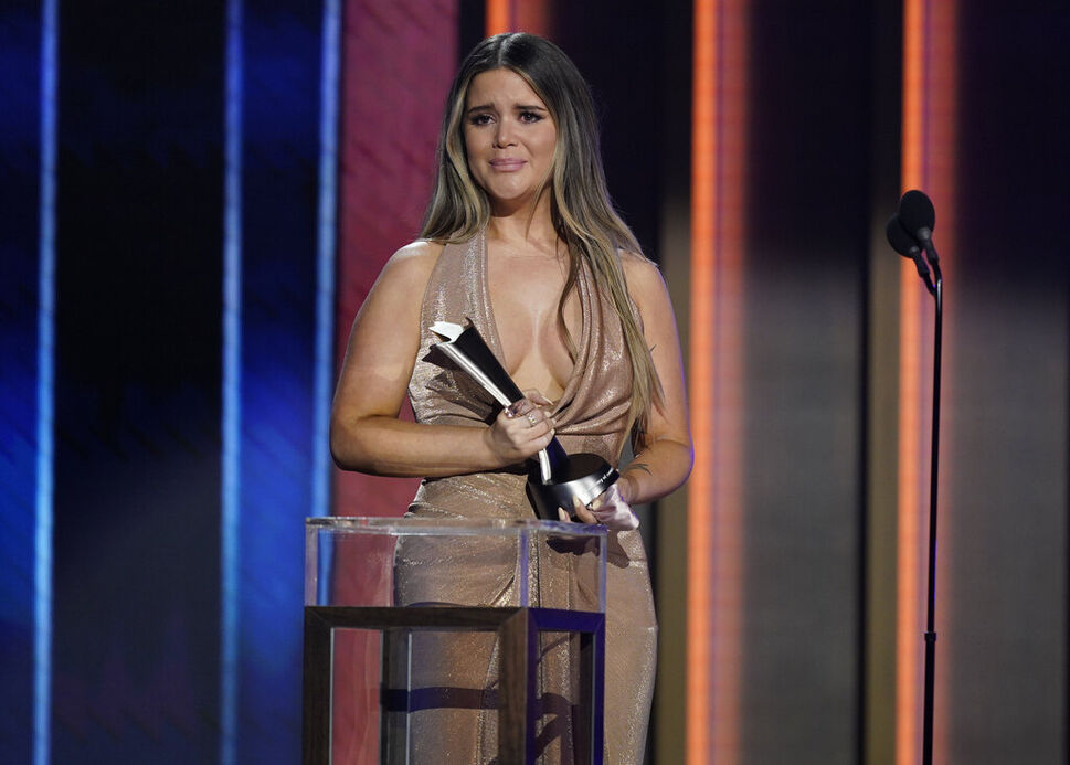 Maren Morris accepts the award for song of the year at the Academy of Country Music Awards on Sunday. (Mark Humphrey / The Associated Press) (CP)