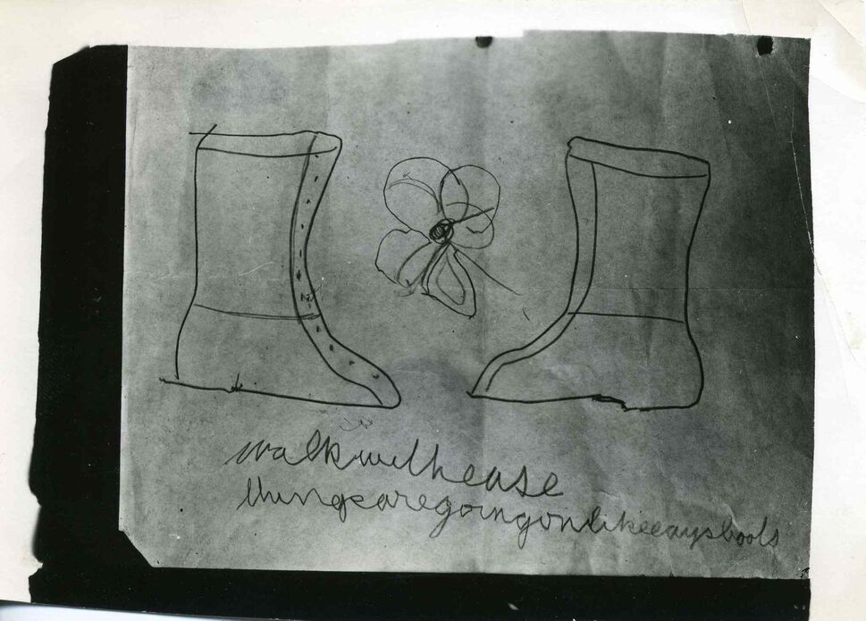 """A photograph of a drawing of two boots and a flower done by the medium, Mary Marshall, in complete darkness while in a trance state and controlled by the German spirit guide, """"T.A.M."""", during a seance at the home of Sylvia Barber on January 23, 1950.  (UofM Archives/Hamilton Family fonds) ( UofM Archives/Hamilton Family fonds)"""