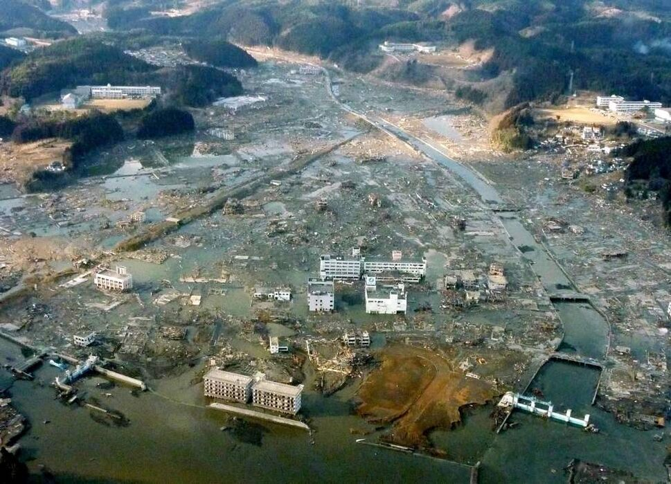 Minami Sanriku town is submerged after Friday's strong earthquake-triggered tsunami in Miyagi prefecture, northern Japan, Saturday, March 12, 2011. (AP Photo/Kyodo News)