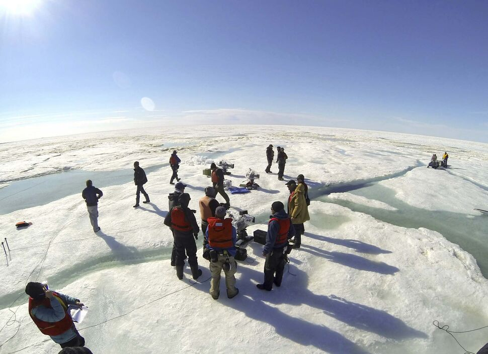 ALLEN FRASER PHOTO</p><p>Shooting the movie Midnight Sun in early June 2013 on the rapidly thawing ice of Hudson Bay near Churchill. The crew prepares to shoot a stunt where a snowmobile is pulled into the open water.</p>