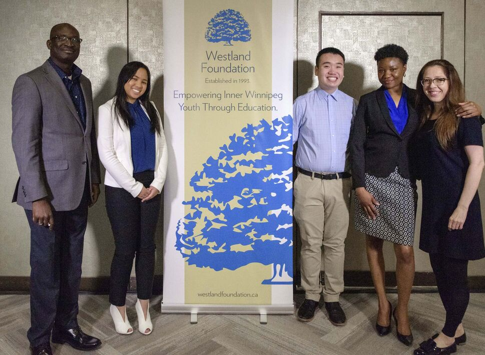 From left: Yemi Igbinyemi, Stephanie Decena, Yangwei Xiong, Yanique Brighton and Inna Borysevych.</p>