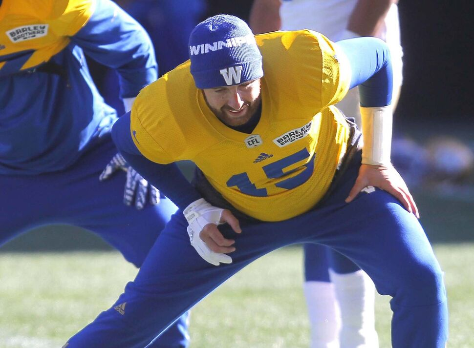 Winnipeg Blue Bombers starting quarterback Matt Nichols at practice at Investors Group Field Tuesday morning.