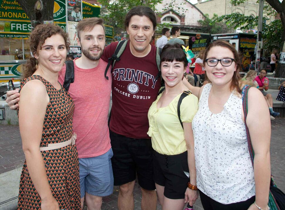 The 28th annual Winnipeg Fringe Theatre Festival is in full gear, with a plethora of entertainment to take in. The festival runs until July 26, 2015, and there¹s entertainment at Old Market Square every day until midnight. Pictured is Suzie Martin (from left) with Coriolanus cast and crew members Daniel Matthes, Adam Charbonneau, Lisa Nelson and Maddie Clark. (JOHN JOHNSTON / WINNIPEG FREE PRESS)