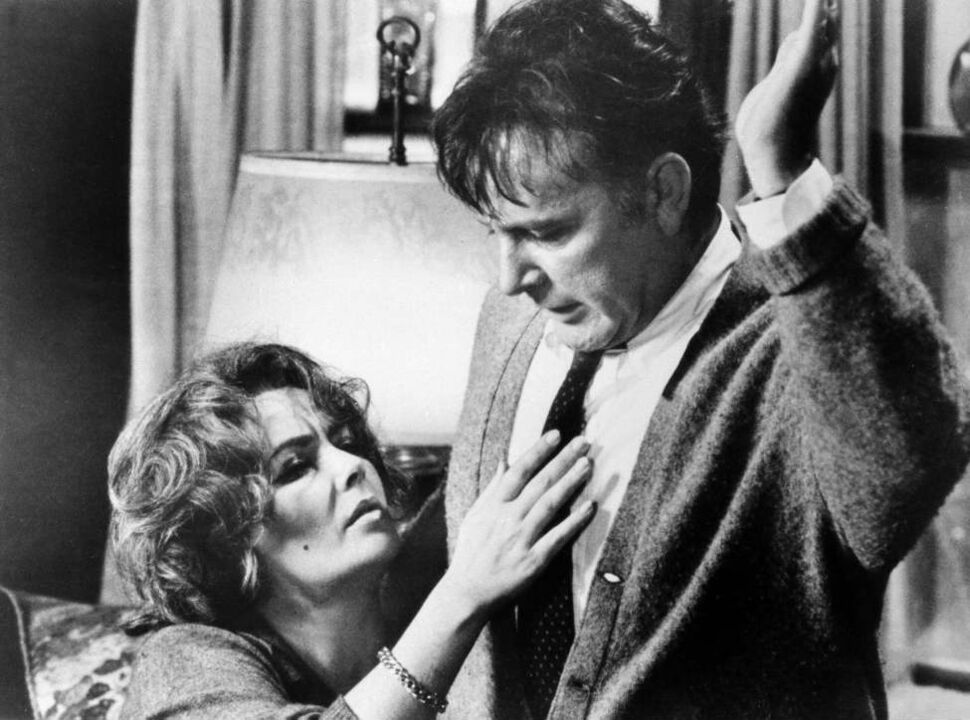 """This 1966 file photo shows Elizabeth Taylor in the role of Martha, and Richard Burton in the role of George in a scene from the 1966 movie """"Who's Afraid of Virginia Woolf?"""" (AP Photo/File)"""