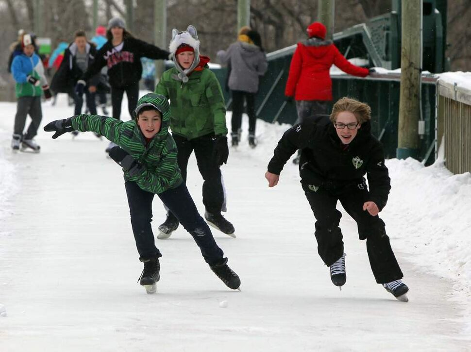 Students from Seven Oaks Middle School skate the trails at The Forks.  December 5, 2014