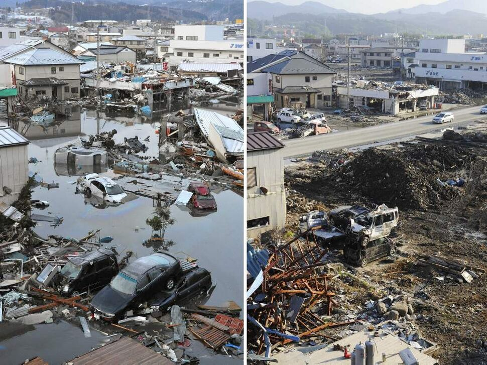 In this combo of two photos, damaged cars are submerged in flooded residential area with other debris swept away by tsunami March 12, 2011, left, while a car goes by a cleared street in the same area June 3, 2011 in Kesennuma, Miyagi Prefecture, northeastern Japan. Japan marks three month since the March 11 earthquake and tsunami Saturday, June 11, 2011. (AP Photo/Kyodo News)