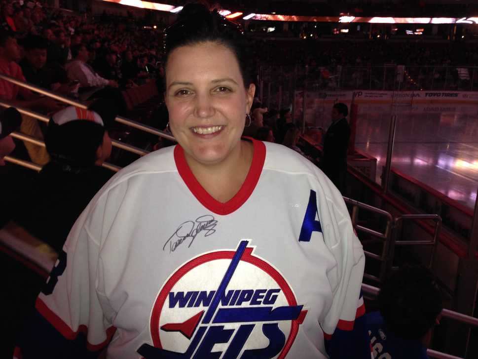 Winnipegger Kathy Vlaming cheered on the Jets in Anaheim Monday night. (Geoff Kirbyson / Winnipeg Free Press)
